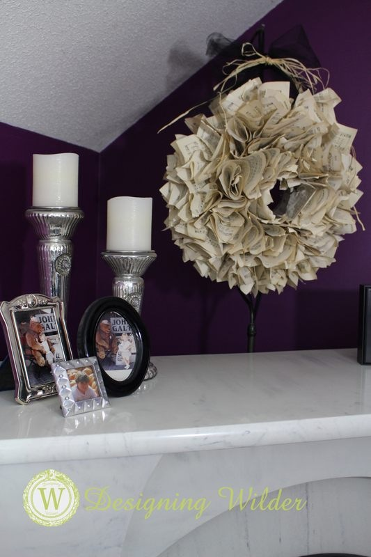 Master Bedroom Fireplace Corner with Book Page Wreath