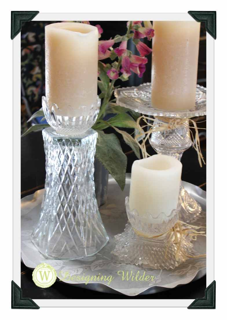 Flea Market crystal candle holder separated into two pieces.