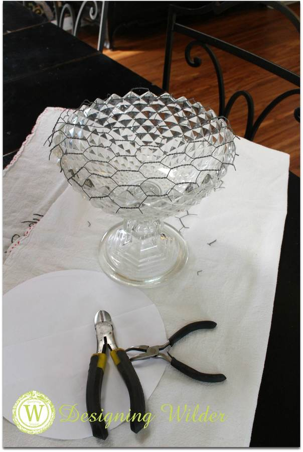 Crystal compote with flower bonnet.