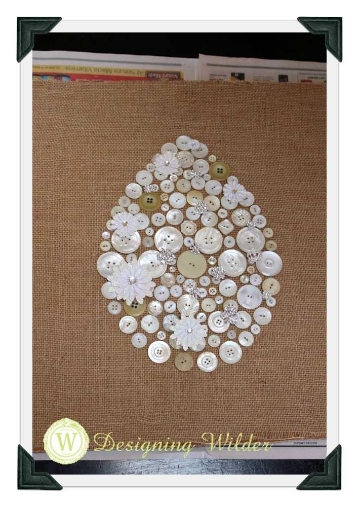 Initial layout of buttons on burlap
