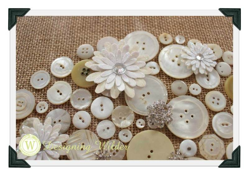 Button art with paper embellishments