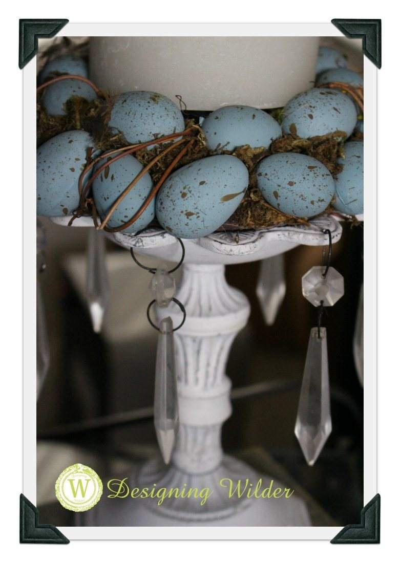 Robin's egg candle ring for Easter decorating