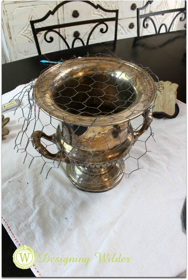 Trophy cup with chicken wire.