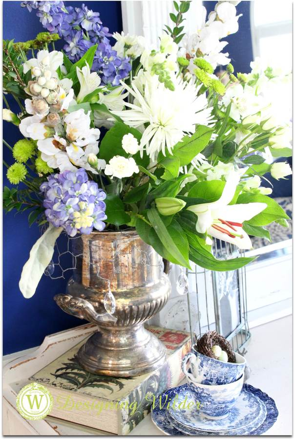 Trophy cup floral arrangement using flower bonnet.