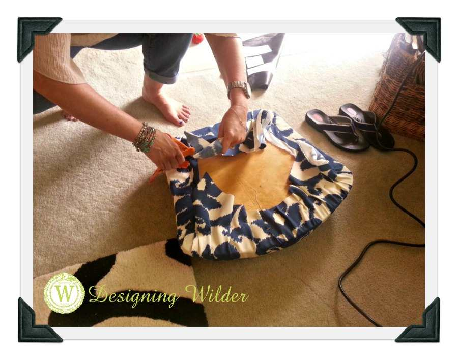 Simple Dining Chair Cushion Update Cutting Away Extra Fabric
