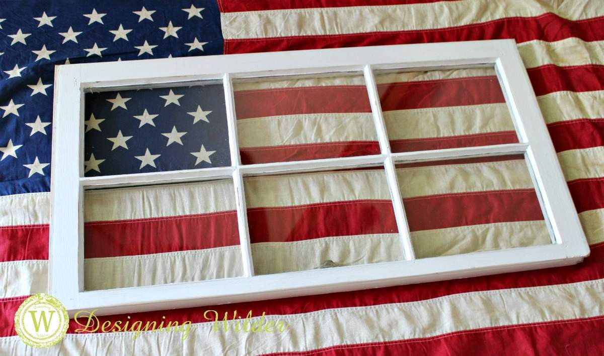 Experiment with positioning flag in window frame for Patriotic Flag Project.