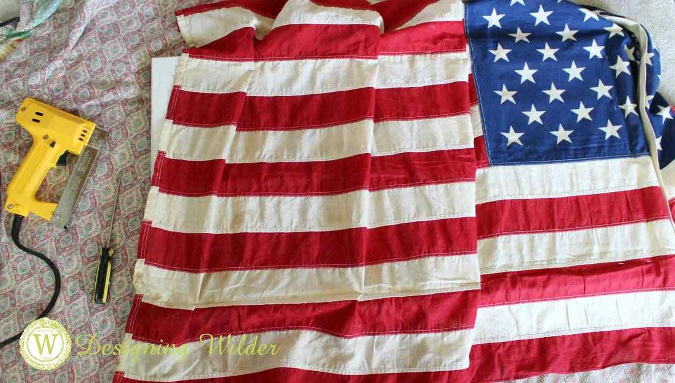 Fold pleats into flog to give the illusion of billowing action for Patriotic Flag Project.