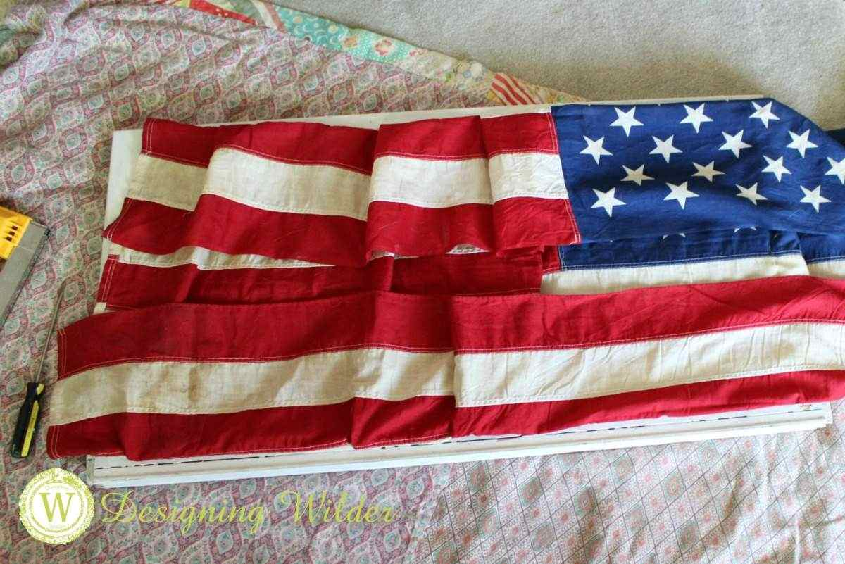 Patriotic Flag Project folding top and bottom of flag.