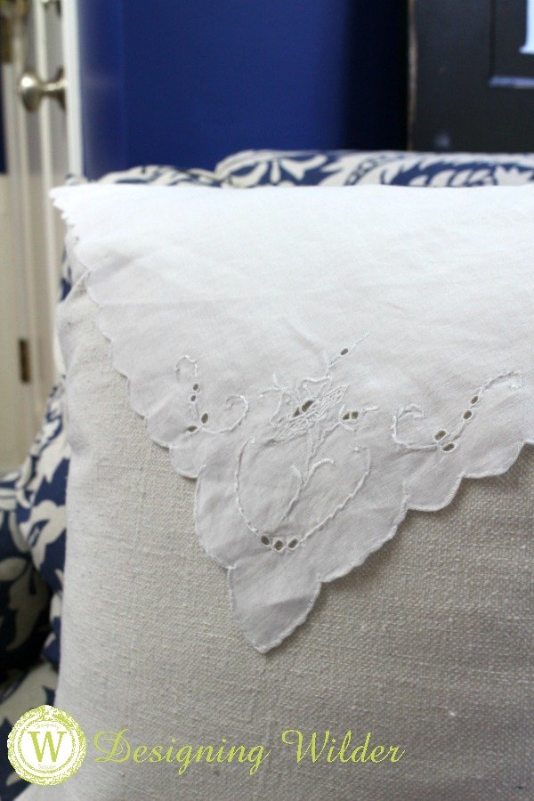 The refinement of vintage linens combined with the sturdy texture of drop cloths provide an irresistible combination in this DIY pillow project!