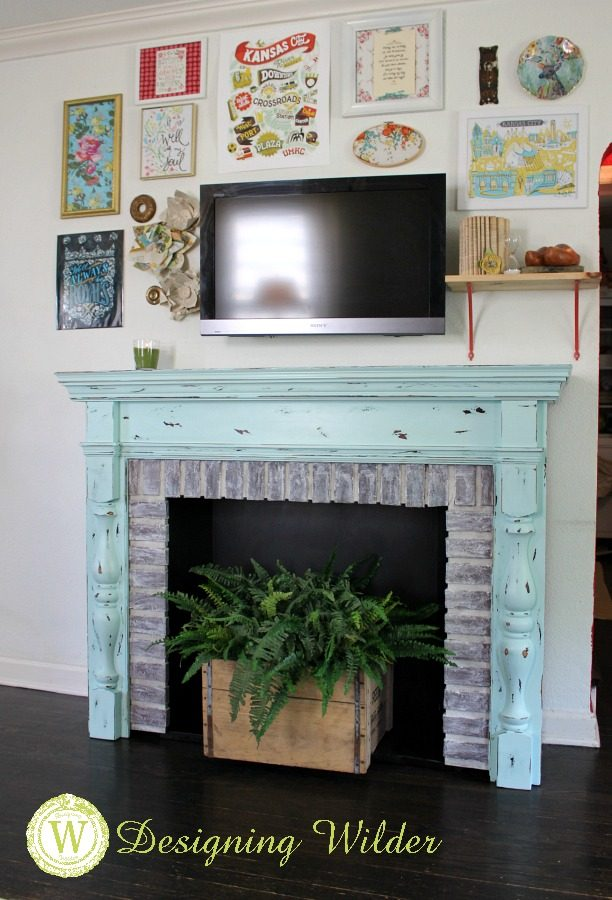 A salvaged fireplace surround gets an update that turns it into the perfect architectural show piece in this eclectic boho bungalow.