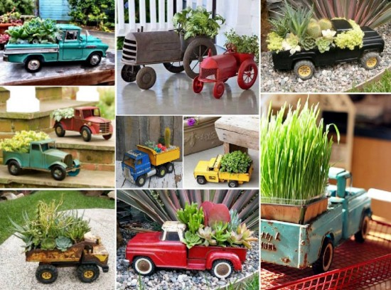 Flea market toy trucks are so fun to use for planting or indoor decor.