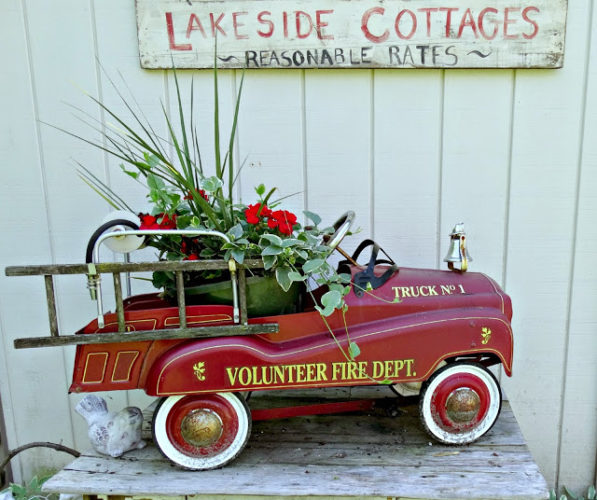 Flea market vintage fire engine makes the perfect whimsical planter!