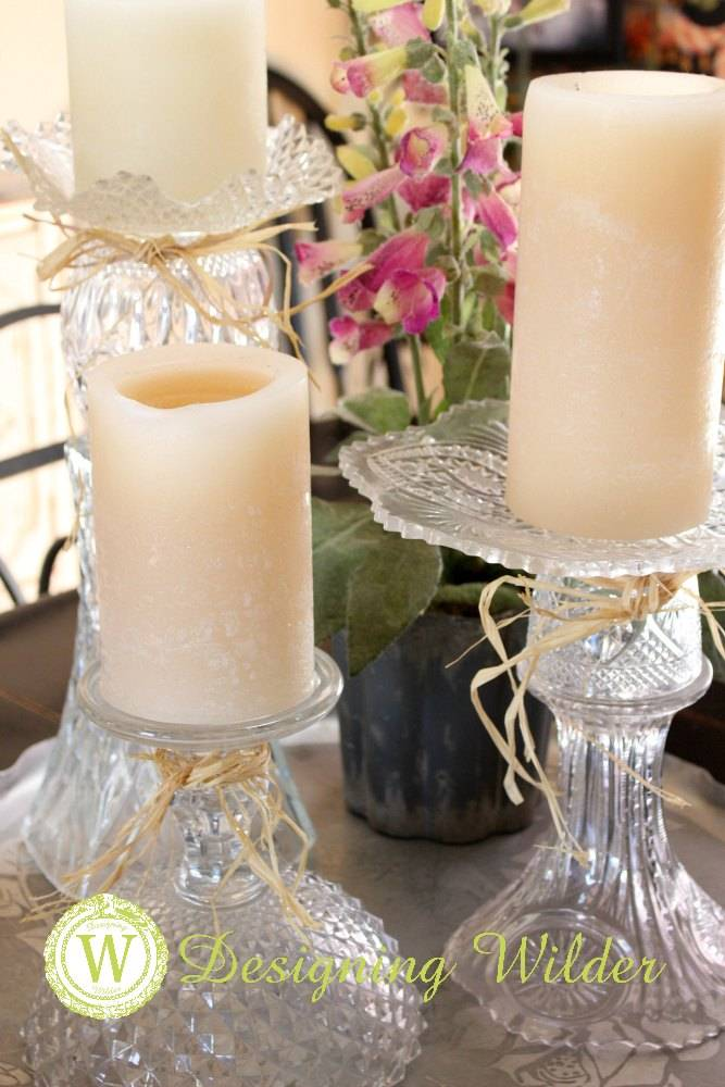 Vintage crystal is glued together to form usable and attractive home decor and serving pieces.
