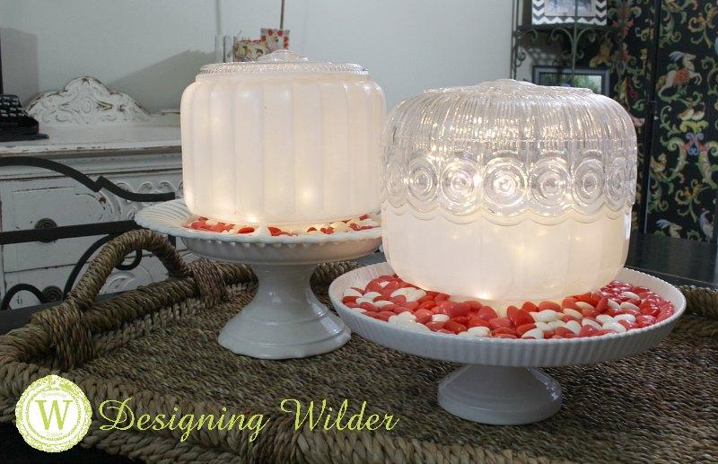Vintage light globes dressed for Valentine centerpiece.