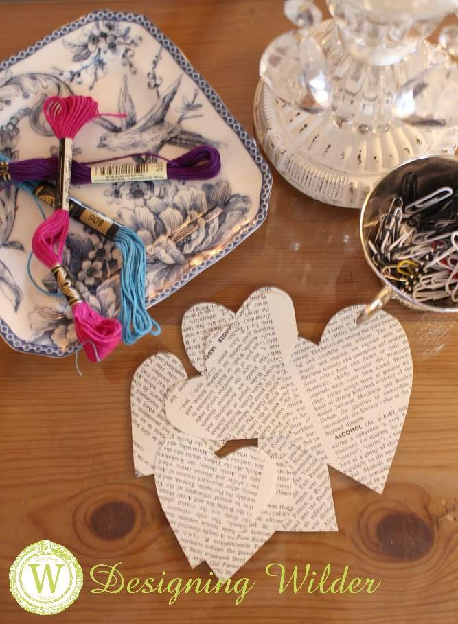 Old book pages provide economical, perfectly aged paper for crafting. Have fun creating these simple book page hearts for Valentine's Day decorating.