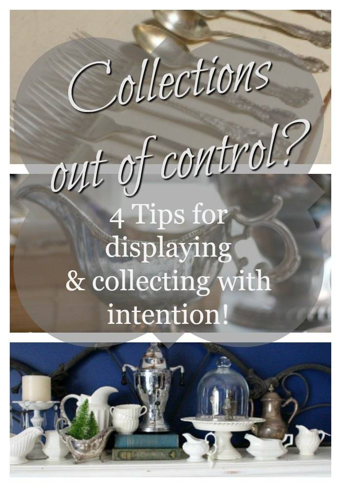 Collections add personality to a home, but can also become overpowering. Here are some basic strategies to use to keep displaying your collecting in check.