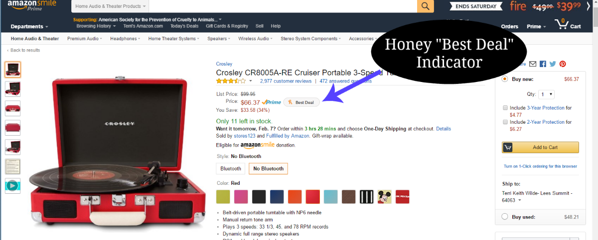 Honey alerts you to best deals on multi-seller sites like Amazon.