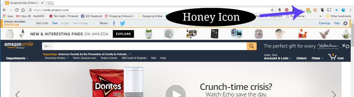Honey will put an icon on your extension bar.