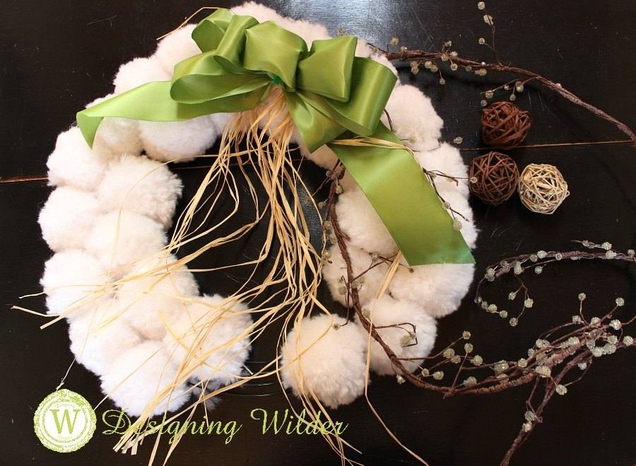 Pompom wreath with possible embellishments.