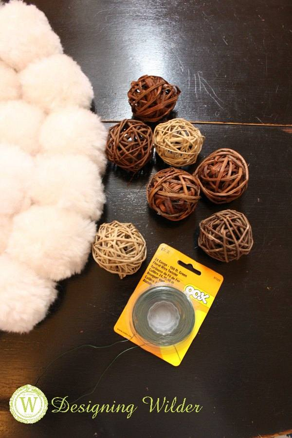 Willow orbs will be wired into existing pom pom wreath.
